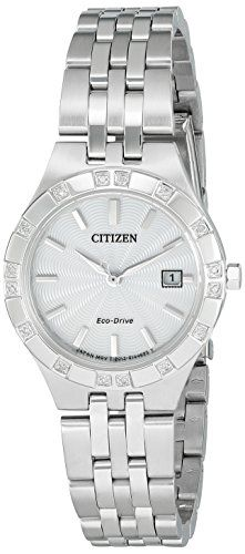 Citizen Eco-Drive Women's 'Sport' Quartz Stainless Steel Casual Watch, Color: Silver-Toned (Model: EW2330-51A). Citizen Eco-Drive is Powered by Light, a watch that never needs a battery. Mineral Crystal. Japanese-quartz Movement. Case Diameter: 27mm. Water Resistant To 330 Feet.