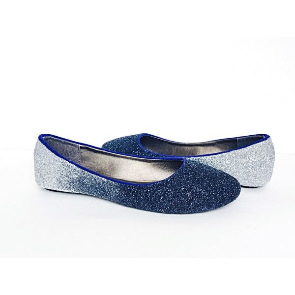 Glitter Flats Navy Blue Silver Ombre Blue Fade Shoes Something Blue... ($74) ❤ liked on Polyvore featuring shoes, flats, ballet shoes, grey, slip ons, women's shoes, silver sparkly flats, blue wedding shoes, grey flats and blue flats