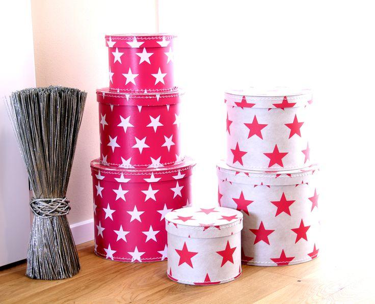 Kulaté krabice s hvězdami #Kazeto. Kazeto round #boxes with stars.