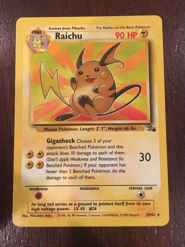 Raichu 29/62 Non-Holo Fossil Pokemon Card