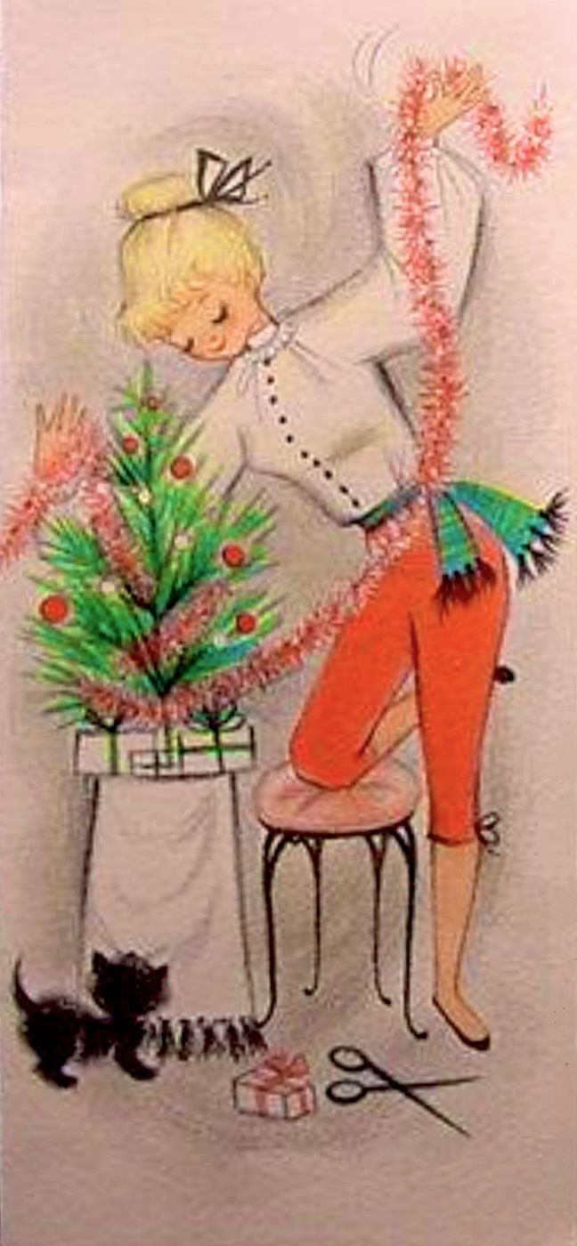 Vintage Hallmark Christmas card, likely late 1950s to early 1960s, which was prime time for capri slacks! The teenager in capris putts the tinsel-garland around a small table-top tree while a black kitten looks on.  (The kitten is also shown inside the card.)