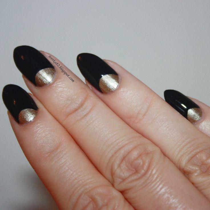 Black & Gold Half Moon Nails