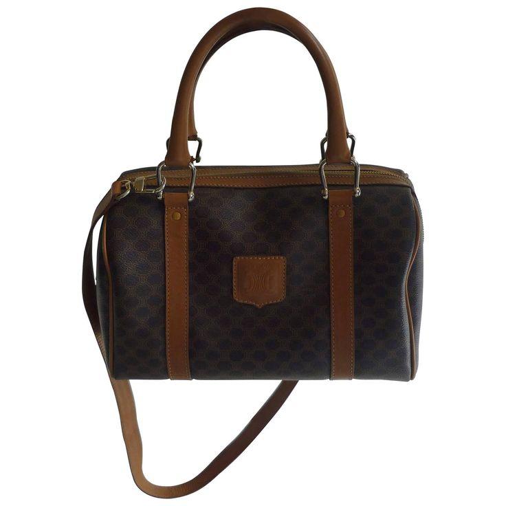 1980s Celine Brown Macadam Hand/Cross Body Handbag M171