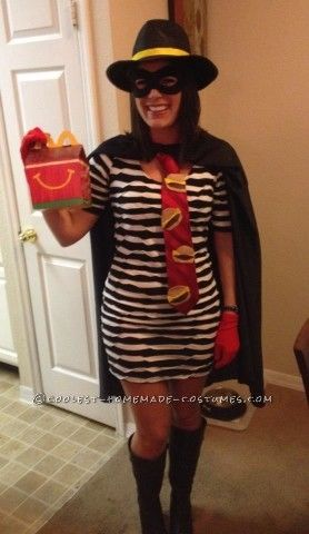The inspiration for this Hamburglar costume idea was the black and white stripped dress I already owned (from Target). I try and make my costumes ever...