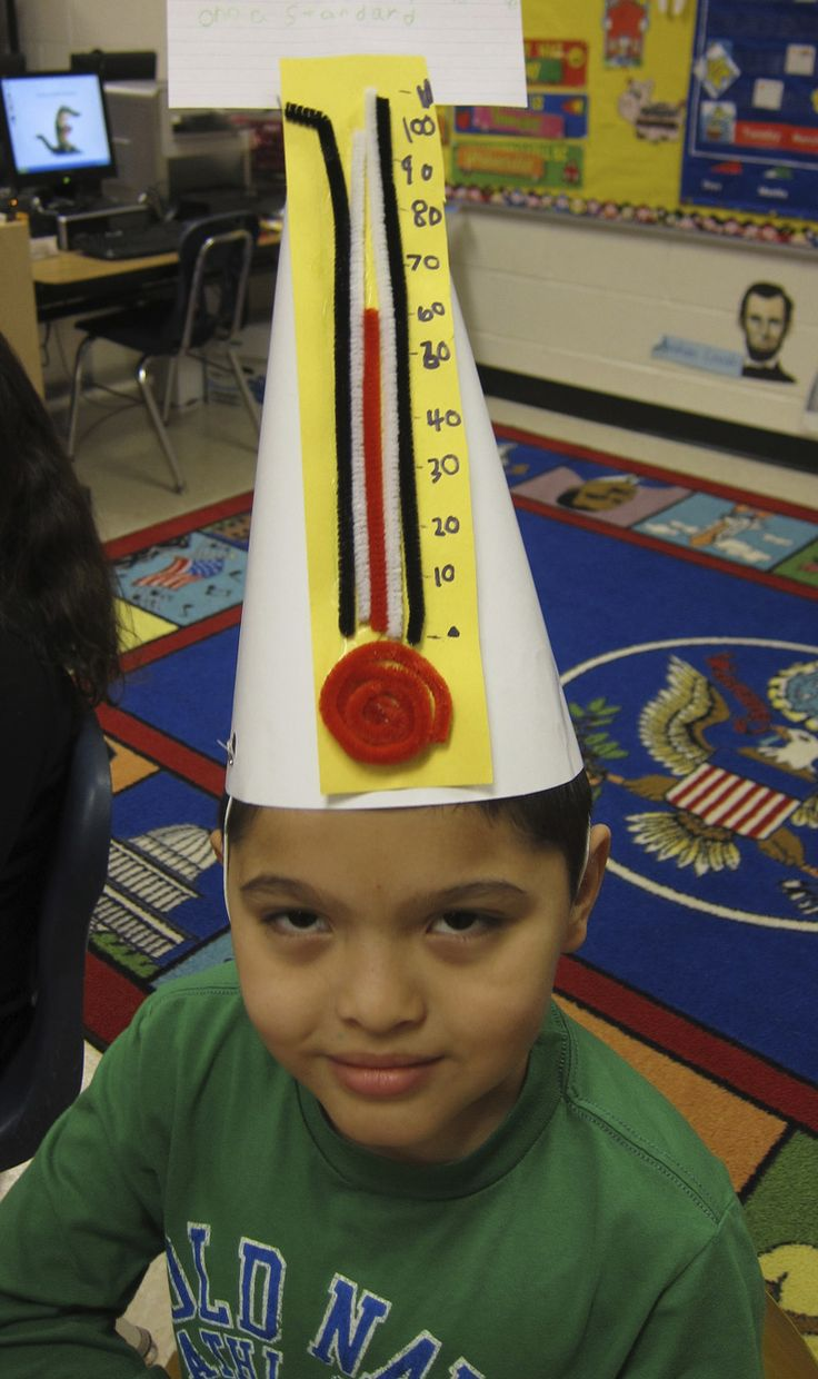 THERMOMETER is the word for this inventive Vocabulary Parade hat-note use of pipecleaners! Have plenty of them on hand to bend into letters, along with paper bags, markers, cardboard boxes. Keep it simple. More ideas at debrafrasier.com, click on the Miss Alaineus cover.