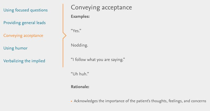 Verbal Therapeutic Communication: conveying acceptance