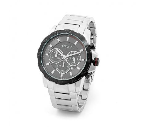 Mizzano Mens heavy chrono silver with black watch