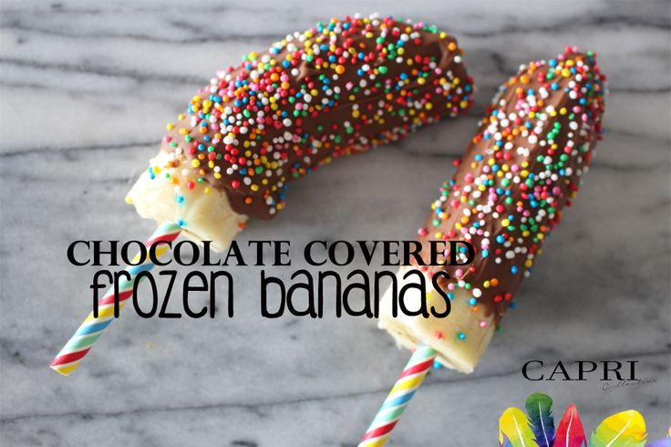 Chocolate covered Frozen Banana Ice Blocks on the Capri Collective blog - Recipe.