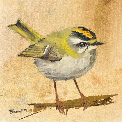 Firecrest Oil painting by Ben Farnell  http://ift.tt/2AgNjvo  http://ift.tt/2zlV0Ak  #birdartben #oilpainting #firecrest #etsy #birds #birdart