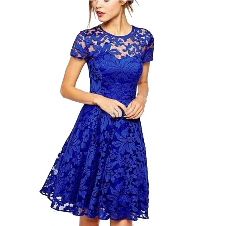 Cheap lace dress, Buy Quality mini dress directly from China floral lace dress Suppliers: Women Casual Floral Lace Dresses Short Sleeve Soild Color Blue Red Black Party Mini Dress