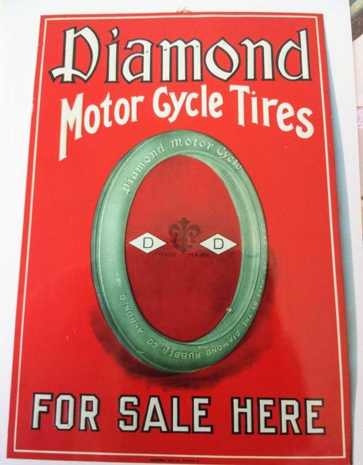 Rare Original Diamond Motorcycle Tires Sign