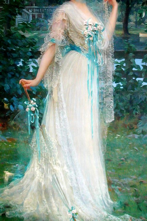 "warpaintpeggy: ""  INCREDIBLE DRESSES IN ART (125/∞) Portrait of Philomena Lynch by Paul Jobert, c. 1900s """