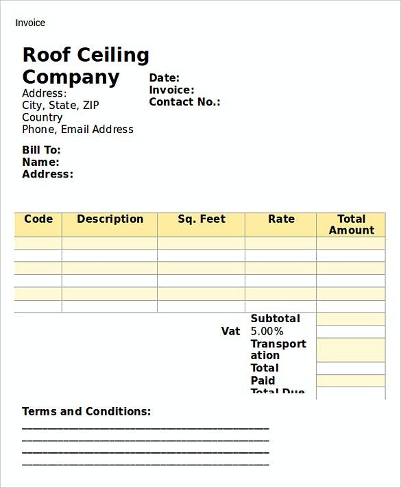 Roofing Invoice Template Uk  Popular Roof