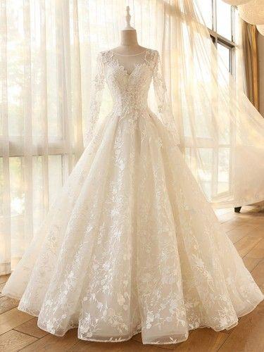 manches longues une ligne Vintage Robe De Mariage spécial dentelle conception Tulle manches robe de mariée Itemwd0544 – my wedding