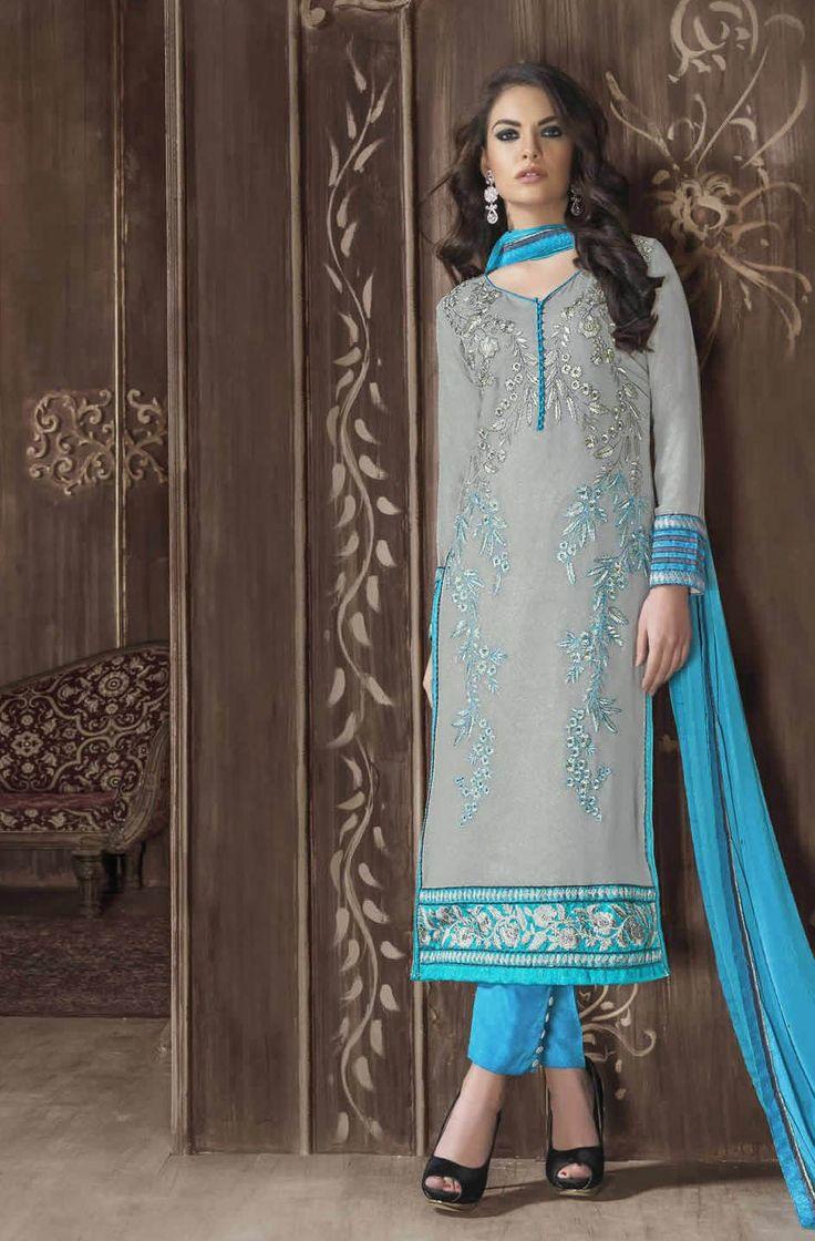Grey Colour Georgette Designer Salwar Kameez