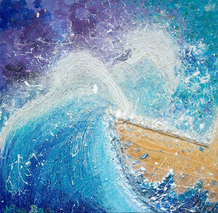 """HOLD ON PERFECT STORM (TURBULENT TIMES)"" by Nina Bach. Paintings for Sale. Bluethumb - Online Art Gallery #artfromwonderland #art #artforsale #abstractart #artwork #ark #faith #hope #blue #aqua #waves #ship #boat #storm #perfectstorm #keepwalking #sailing #yacht #texturedart #texture #wood #glass #bluethumbartist #bluethumbart #artuncovered #nonudewalls #ninabach #victorious #propheticart #worshipart #faith #believe #jesus #holyspirit #turbulence #highwaves #australianart #australianartist"