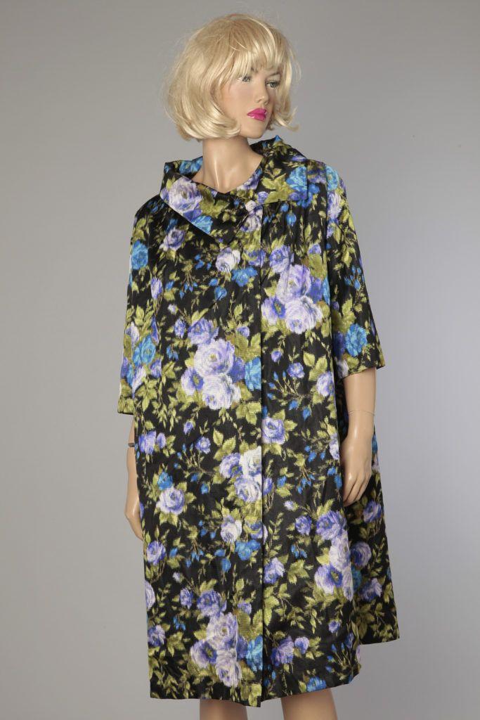 Manteau 1950 en reps de satin de soie imprimé