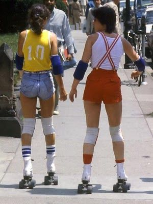 """Towards the later 70's, things got a bit more sporty. This look is kind of like """"Little boy whore,"""" with its primary colors, knee socks, and suspenders. They did have hip-hugging, low waisted styles in the 60's and 70's, but the majority of pants were what would now be called """"high waisted."""""""
