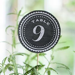 Just download and print this PDF for 24 chalkboard style table numbers. These are perfect for your rustic or vintage wedding reception or party.