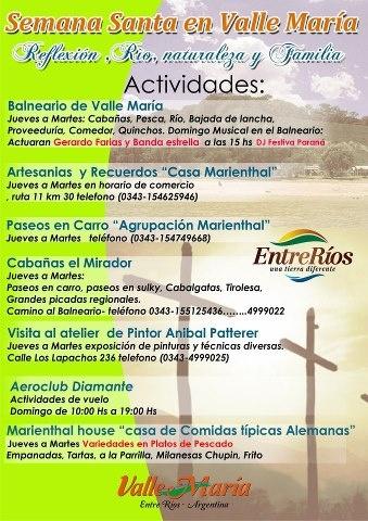 Calendario de actividades para Semana Santa en Valle María