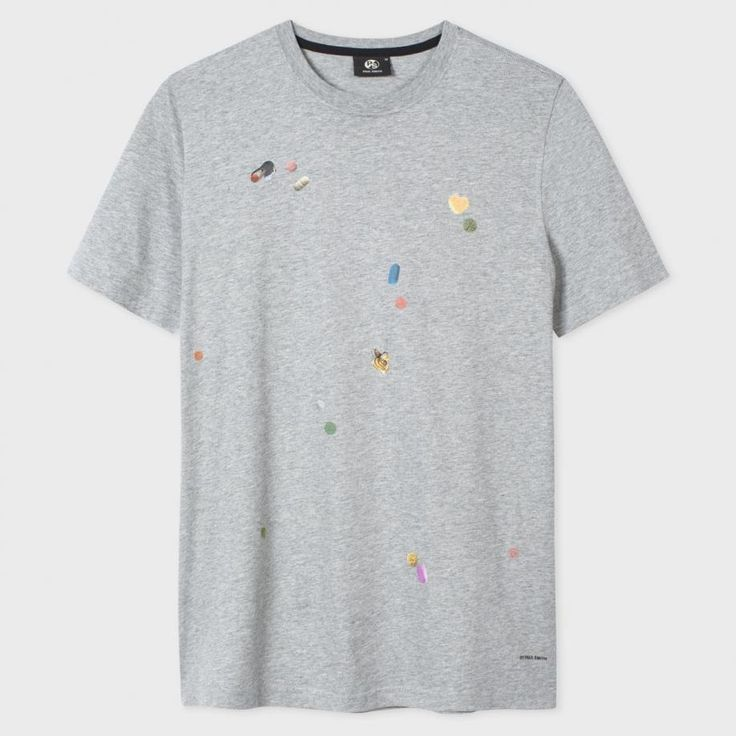 Men's Grey Marl 'Tablet' Print T-Shirt