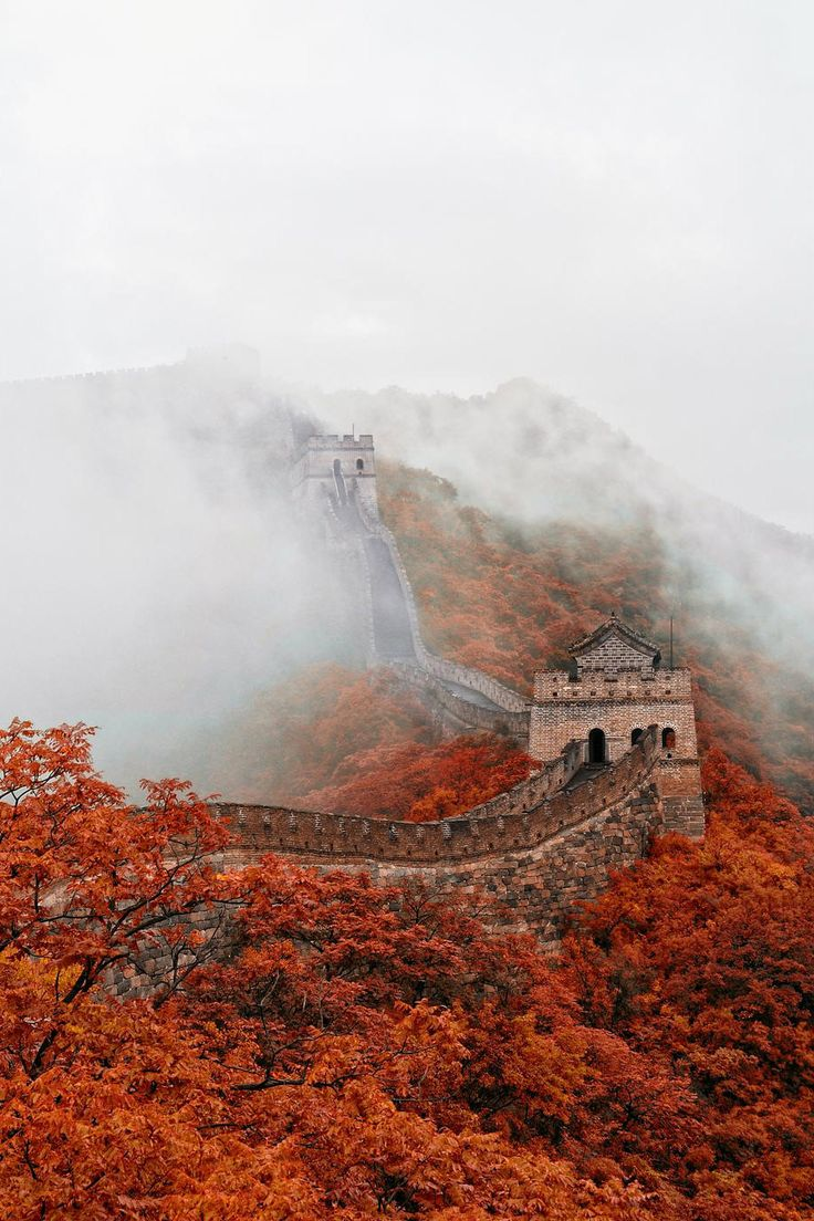 Mist surrounding the Great Wall of China