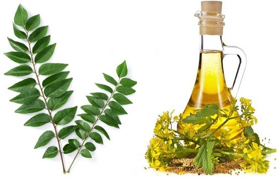 mustard oil and curry leaves for hair loss and hair regrowth