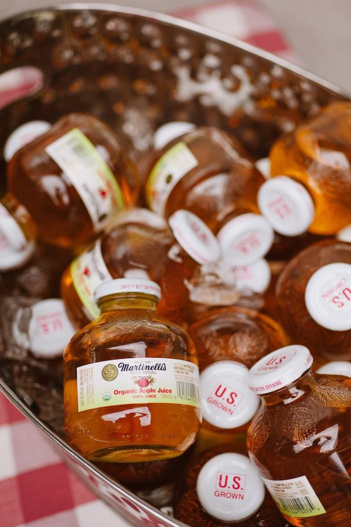 """Mini apple juice bottles from """"Little Pumpkin"""" Fall Picnic Birthday Party at…"""