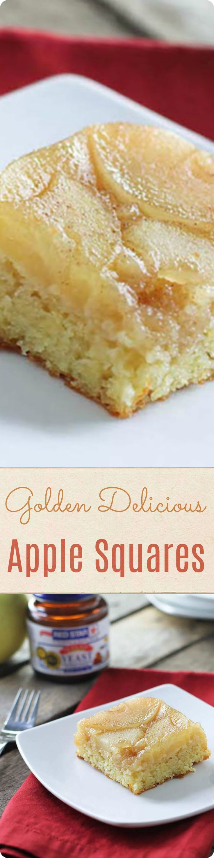 Golden Delicious Apple Squares | An autumn apple cake that's perfect for an afternoon snack or for serving guests. Find recipe at redstaryeast.com.
