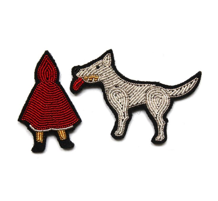 "Macon & Lesquoy SMALL EMBROIDERED ""LITTLE RED RIDING HOOD"" PINS at Sérénissime Kidstore, Lyon"