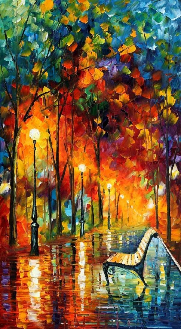 Leonid Afremov - I love this painting. The colors, the style that reminds me of looking out a rain spattered window, the sentimental subject of a lonely park bench - everything. Just love it.