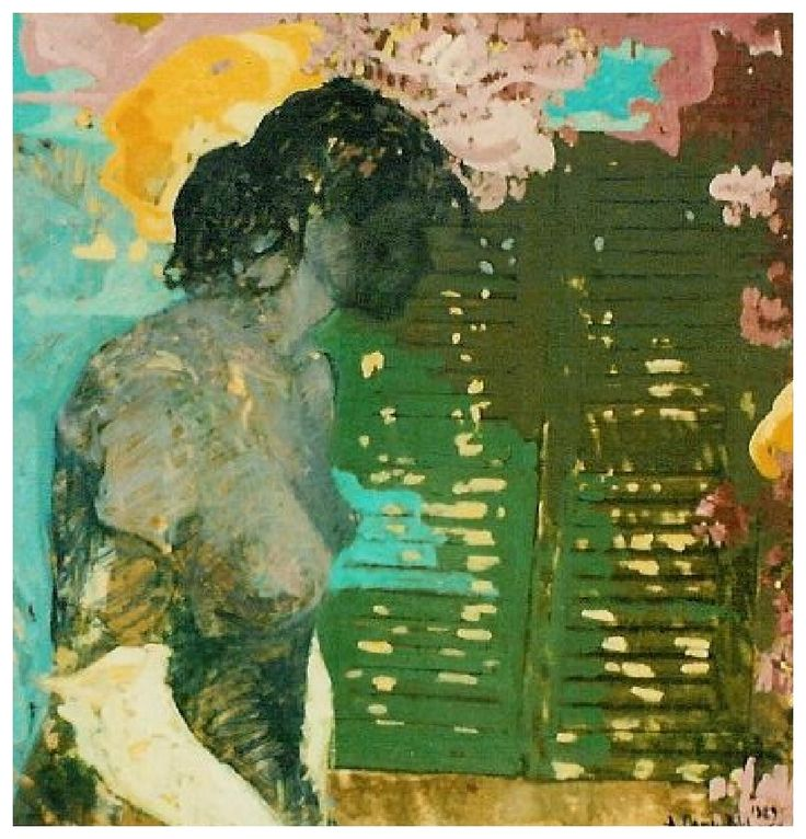 Pencere önünde kadın / Femme devant la Fenêtre /  Woman in front of window - Oil on carton - 80x80- 1989