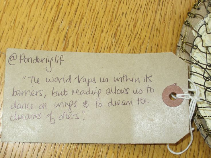 Turn over the tag that came with the birdcage, and you find this message.