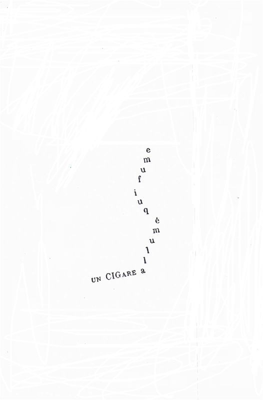 poème de Guillaume Apollinaire: calligramme, un cigare allumé qui fume