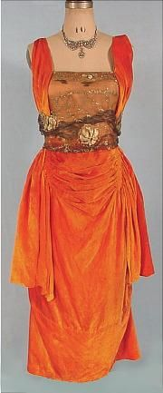 c. 1919 HARRY COLLINS, New York Bright Tangerine Silk Velvet Evening Gown