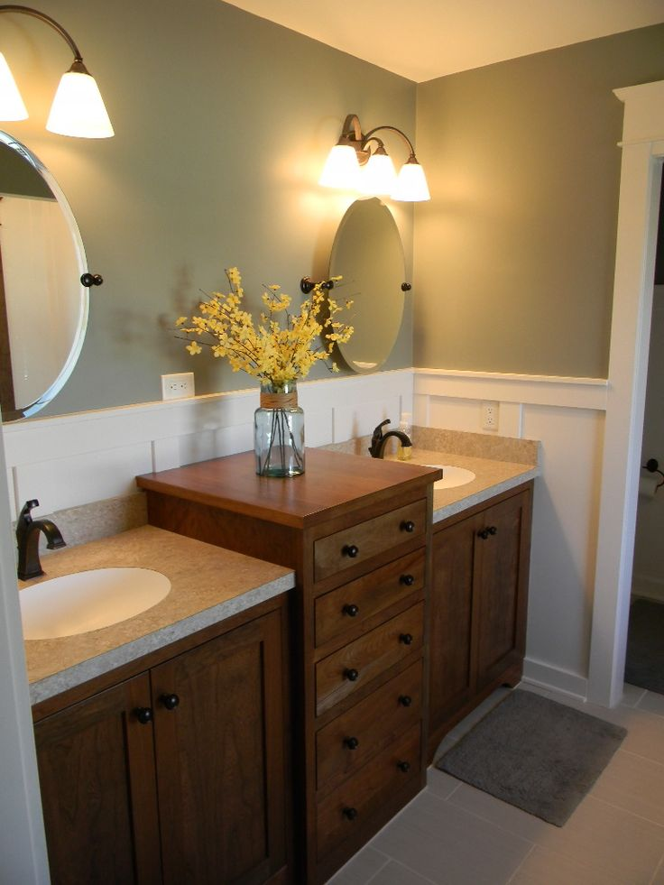 Gray master bath paneling double sink vanity cherry | For ...