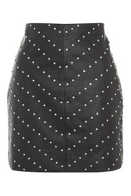 PETITE PU Studded Mini Skirt - Black by: TopShop