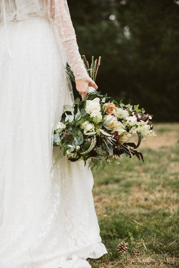 wedding bouquet white, burgundy, green, hydrangea, eucalyptus