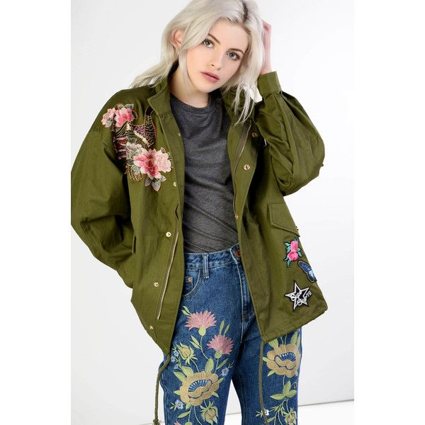 Glamorous Khaki Embroidered Funnel Neck Utility Jacket (77 CAD) ❤ liked on Polyvore featuring outerwear, jackets, khaki, utility jacket, cotton utility jacket, embroidery jackets, green utility jacket and khaki green jacket