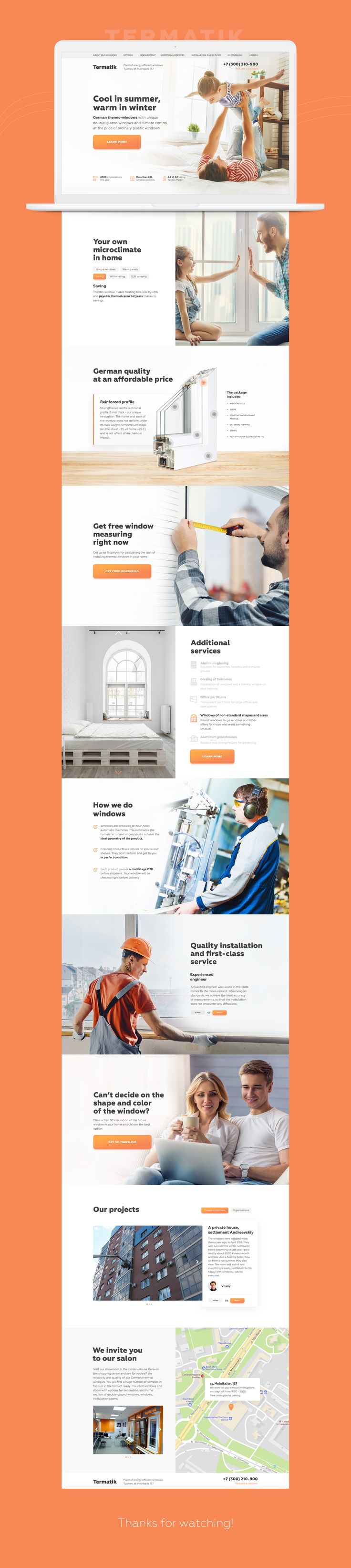 Landing page for company-manufacturer of plastic windows