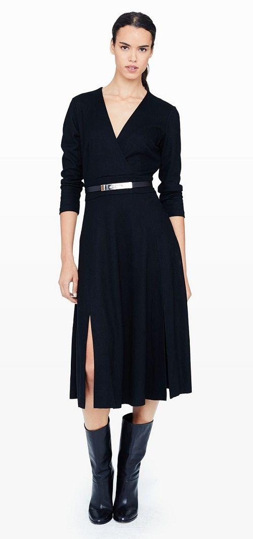 No time to get changed after work? Go for the classic envelope dress like this Delphine Wrap Dress from Club Monaco ($289). Add some bracelets adn lighter shoes for a great effect!