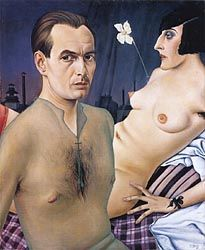 Christian Schad, Self-Portrait, 1927 (Prescient of Nan & Brian; the facial expressions perhaps reflect the relative social sense of sexual perversity of 1927 and 1983, or maybe here his sheer shirt and crucifix suggest something less 'ennui' filled has just occurred.)