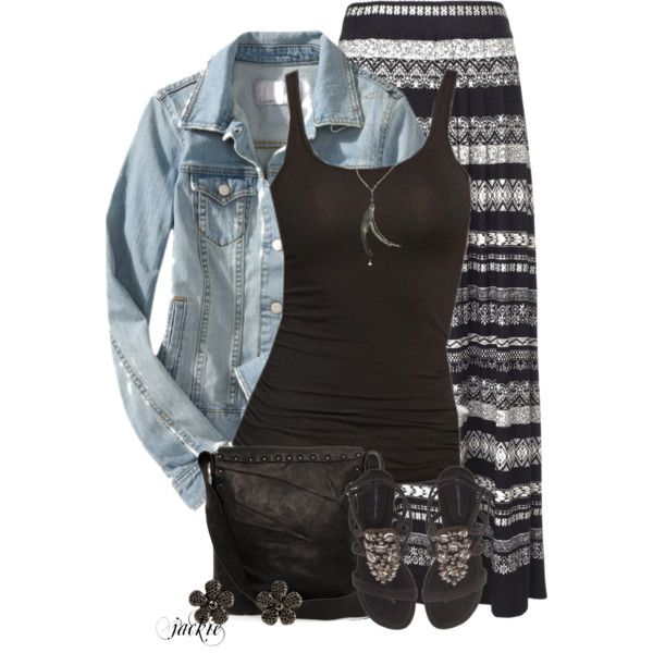 """""""Denim Jacket and Maxi Skirt"""" by jackie22 on Polyvore"""