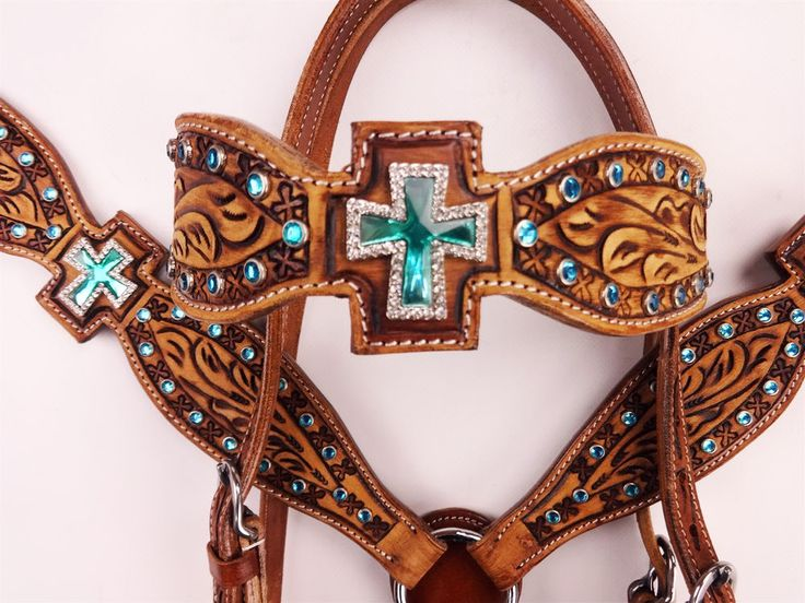 TURQUOISE BLING GATOR LEATHER HEADSTALL WESTERN HORSE BRIDLE BREAST COLLAR #MrSaddle