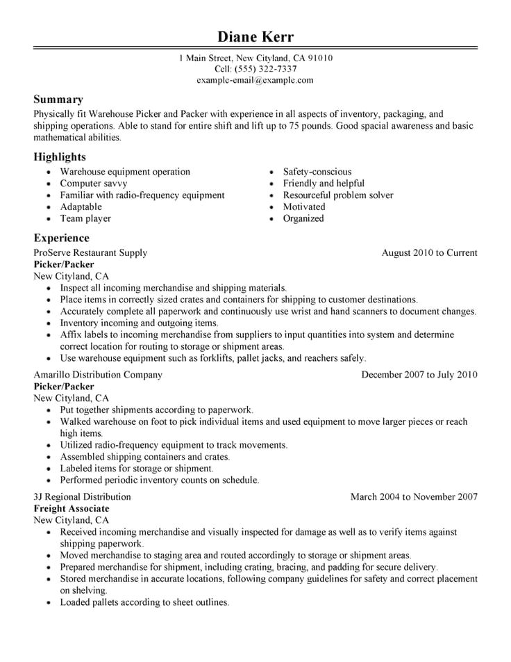Manufacturing | Resume Examples | Resume examples, Warehouse resume ...