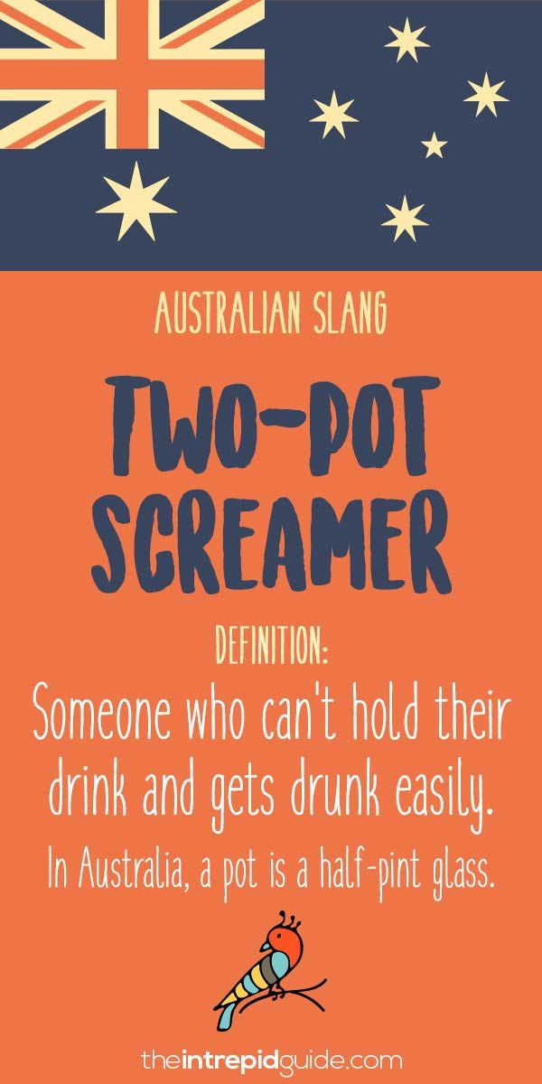 Aussie Slang Funny - Australian Slang  - two pot screamer