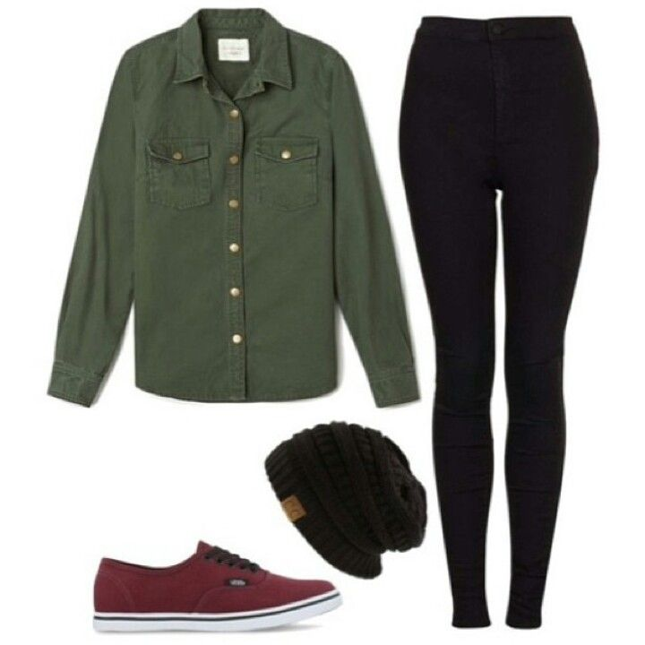 army green button up black leggings maroon vans black beanie