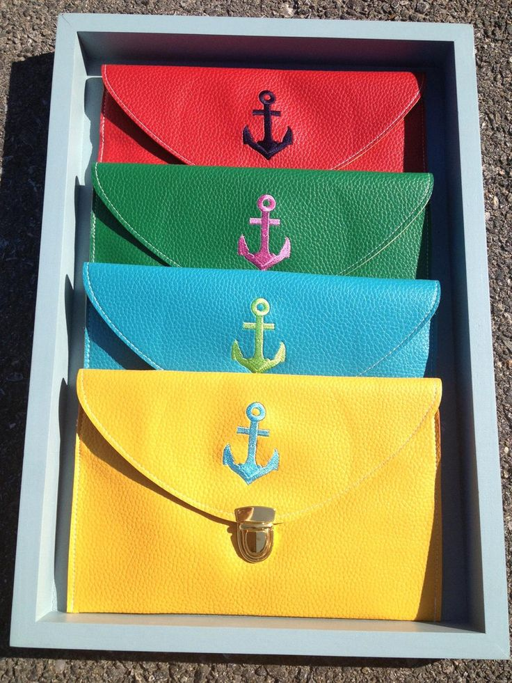 Embroidered Anchor clutch $38