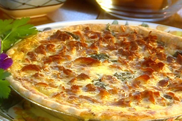 Paula Deen spinach & bacon Quiche...I made this the other day (but with homemade crust).  Absolutely fantastic!  My kids loved it and it was gone from their plates.  Yum!!