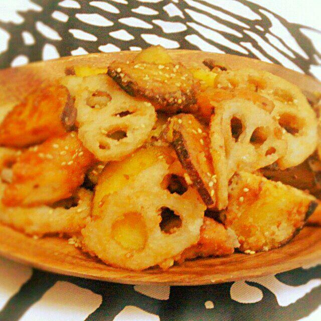 SnapDishに投稿されたともさんの料理「薩摩芋と蓮根のデパ地下